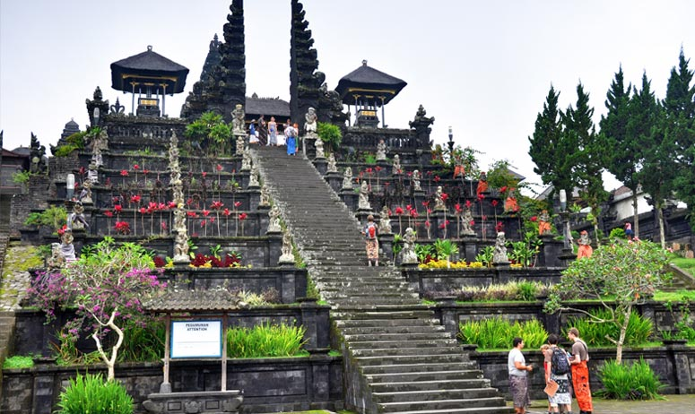 Besakih Mother Temple With Kintamani Volcano